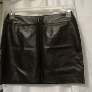 Express genuine leather lined mini skirt